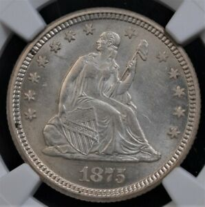 1875 SEATED LIBERTY QUARTER NGC MS 63 FROSTY SNOW WHITE PALE CHAMPAGNE DUSTING