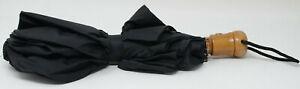 Black Compact Extendable Umbrella Tan Handle Push Button