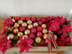 Christmas Decorations Baubles Red & Gold with Flower Heads Joblot Bundle