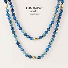 Necklace Woman Very Long Pearl Pierre d`Agate Blue Super Elegant Gift ST