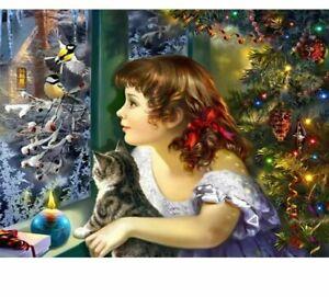 Diamond DIY Painting Girl And Pet Cat Christmas Themed Design House Wall Display