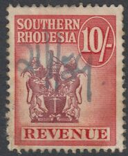 SOUTHERN RHODESIA : 1954 10/- REVENUE Stamp  Bft 37 pen cancelled