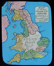 COLOUR Glass Magic Lantern Slide CONVERSION OF THE HEPTARCHY MAP C1890 BRITAIN