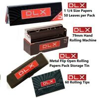 DLX DELUXE 1 1/4 size Cigarette Rolling Papers+79mm Roller+Pack Storage Tin+Tips