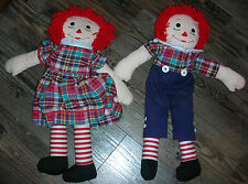 """2X Raggedy Ann & Andy 20"""" Doll Plush - Handmade signed by Joan Whitset 2008"""