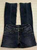 Silver Suki Surplus Jeans Size 27 Womens Bootcut Button Flap Pockets Dark Wash