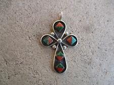 vintage Zuni Turquoise Coral Cross Crucifix sterling pendant charm necklace