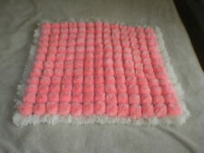 HAND MADE  POMPOM  BABY CRIB BLANKET PINK & OFF WHITE SIZE 20 BY 18in APPX