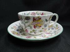 Minton Haddon Hall B1451, Floral Chintz, Green Trim: Cup and Saucer Set (s)