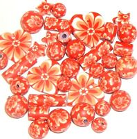 CPC116 Orange & White Flower Assorted Shape 6mm - 16mm Polymer Clay Beads 35pc