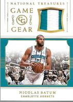 2018-19 Panini National Treasures Game Gear Prime #14 Nicolas Batum Jersey /25