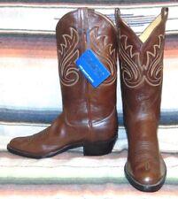 Vintage Panhandle Slim Brown Leather Cowboy Boots Mens 8 D / Womens 9.5 M NEW