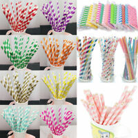 25/50/100pcs Reusable Favor Paper Drinking Straws Striped Home Party Decor Gift