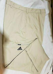 Adidas Performance Men's Golf Pant 40x31 Flat Front Khaki Stretch Cotton/Poly