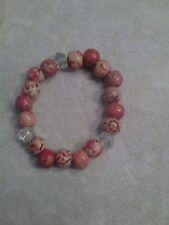 Wooden bead crystal stretchy bracelet elastic tribal pattern