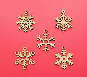 Wooden Christmas Snowflake Shapes MDF Craft Shapes Decoration Hanging Baubles