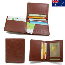 Genuine Leather Ladies Womens Trifold Wallet Purse Card Holder Brown