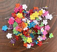 Handmade 100 Pcs Mixed Color Mulberry Paper Flower Blossom DIY Crafts 19 x19mm