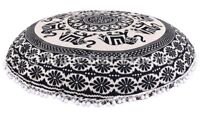 Large Elephant Mandala Floor Pillow Cases Round Throw Cushion Cover With Insert