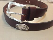 Men's Leather Brown Belt With Kansas State University Wildcat Conchos 28 R