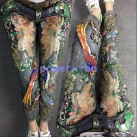 Womens Denim jeans embroidery Beaded pencil pants Slim Fit trousers Fashion Sz