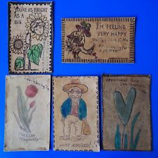 Antique Vintage Leather Postcards - Greetings From Wisconsin Dells, MO, PA, CA