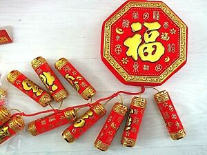 ARTIFICIAL CHINESE XXL 115cm RED FIRECRACKERS WEDDING BIRTHDAY NEW YEAR PARTY