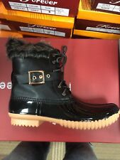 Womens Ankle Rain Duck Boots Two Tone Lace Up Low Heel Snow Winter Ladies Shoes