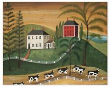 COZY COUNTRY PRINT - Fall Landscape -Primitive Folk Art- signed Wendy Presseisen