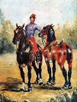 HENRI DE TOULOUSE LAUTREC GROOM WITH TWO HORSES OLD ART PAINTING PRINT 1276OMA
