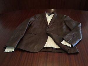 New Designer Couture Super Soft 100% Lamb Leather Jacket Blazer Men's Brown M