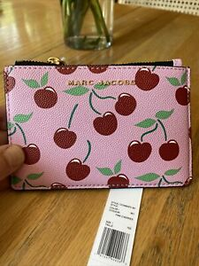 NWT MARC JACOBS printed leather card holder$115/ pink cherry