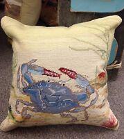 "18x18"" Needlepoint Blue Crab Pillow"