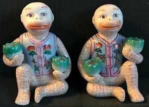 Vintage set of 2 monkey double candle holders, flower vests, porcelain Chinese