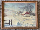 Vintage Framed CANVAS Red Barn Farmhouse ACRYLIC PAINTING Primitive Decor
