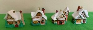 4 Old English Village  Hallmark Miniature Ornaments Tudor House Inn Depot Toys