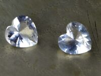 Natural White Sapphire Gemstone Pair 5.45 Carat Heart Shape AGI Certified CC72