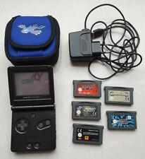 Nintendo Game Boy Advance SP Handheld-Konsole - Schwarz mit Tasche und 5 Spielen