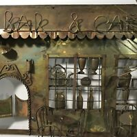 Enesco Metal Bar and Cafe Wall Sculpture Eames Era MCM 1974 Vintage