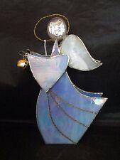 Angel holding Bell made of Metal Framed Glass