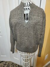 Dresdbarn Womens Size Large Gray Pullover Button Detail Sweater