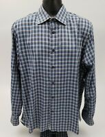 Hickey Freeman Men's Dress Shirt Size XL 100% Cotton Blue Brown Check Plaid