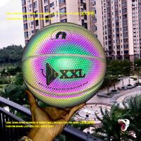 DXXL Holographic Luminous Basketball Black Rainbow Reflect Light Basketball