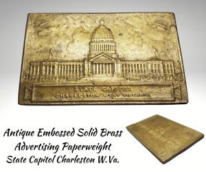 Antique Embossed Brass Advertising Paperweight-STATE CAPITOL Charleston W.Va.