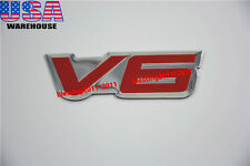 1X FENDER HOOD HOT ROD RAT V6 EMBLEM V6 6 CYLINDER ENGINE ALUMINUM EMBLEM BADGE