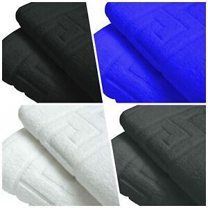 Pure Cotton Hotel Best Quality Bath Mat Towel Bathroom Rug Greek Key Design