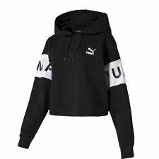 Puma XTG Womens Cropped Hoodie Branded Jumper Black 595741 01