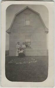 1910 era Waldville Saskatchewan Canada Barn & Family Real Photo Postcard RPPC