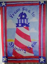 Patriotic Lighthouse Red, White and Blue House Flag
