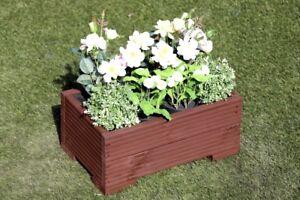 Brown Wooden Decking Trough Planter Veg Bed Flower Plant Pots 50x32x23 (cm)